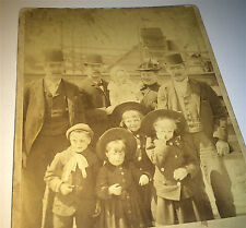 Antique Victorian American Fashion Family Ship Passengers on Trip! Cabinet Photo