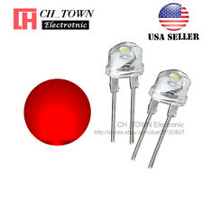 50pcs 8MM Water Clear Red Light Straw Hat 0.5W LED Diodes Wide Angle USA