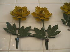 Cute Shabby Vintage ToleWare Painted Metal Yellow Flowers Double Wall Hooks