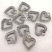 50x New Heart Alloy Antique Silver Plated Charms Pendant Fit Carfts Handmade D