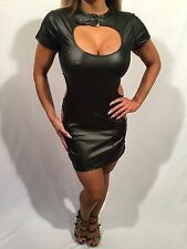 Connie's Black Stretch Faux Leather look Black Dominatrix Mini Dress S/M