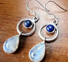 Rainbow Moonstone Lapis Earrings 925 Sterling Silver Dangle Hoop Pear Round