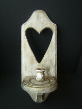 Hand Crafted Wood Sconce Candle Holder Wall Hanging Shabby Chic Country Cottage