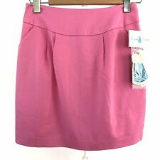 Emma Graham Womens Skirt Pink New Sz 6 Stretch Full Zip Back Lined Side Pockets
