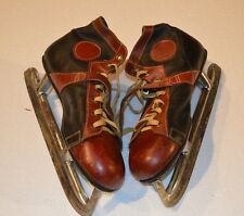 Vintage 1950s JC HIGGINS Leather Hockey Ice Skates Size 10 & Swedish Blade Guard