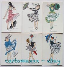 """Scorzon - Serie Set 6 Cards """"I Venti"""" - Glamour Lady - Non Viaggiate - ST286"""