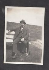 c1930s Original Photo: Well Dressed Man sitting on a Park Bench