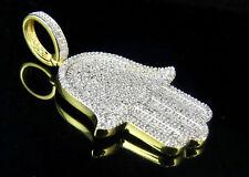 "Men's Sterling Silver Yellow Gold Finish Real Diamond  Hamsa Pendant 1.4"" 0.75ct"