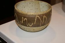 "VINTAGE Southwest  Pottery BOWL SPECKLED BROWN SIGNED  4.5""HX 6.5""D"