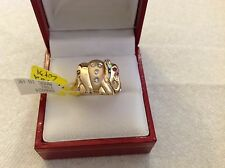 14k  yellow gold ring elephant design with diamond and ruby