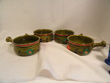 4 Georges Briard Avocado Flowered Handled Soup Bowls MCM 50's