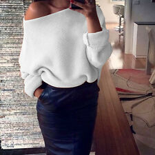 Fashion Womens Off Shoulder Knitted Sweatshirt Baggy Casual Jumper Top Sweater