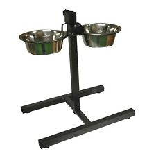 HEIGHT ADJUSTABLE PET DINER TWIN STAINLESS STEEL FOOD BOWLS DOG FEEDING STATION