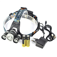 12000Lm 3x XM-L T6 LED Cabeza Linterna Luz Frontal USB LÁMPARA Headlamp 2X 18650