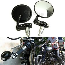 "New Motorcycle 3""Round 7/8""Handle Bar End Rearview Mirrors For Honda Harley"