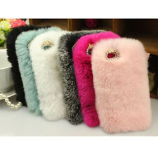 Luxury Furry Rabbit Bling Crystal Rhinestone Case Cover For iPhone 6Plus 6S plus