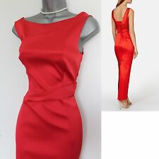 KAREN MILLEN Red Signature Stretch Satin Party Maxi Dress UK12 EU40 £275  DV304