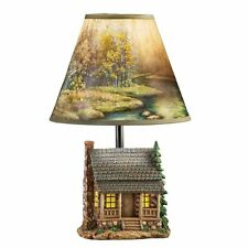 RUSTIC NATURE SCENE OUTDOOR WOODLAND TABLE LAMP LIGHT LIGHTS NEW