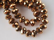 25pcs 10mm Rondelle Faceted Crystal Glass Finding Loose Spacer Beads Dark Gold