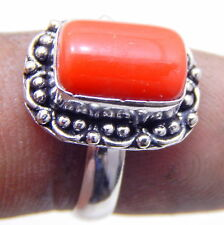 Coral .925 Sterling Silver Plated Jewelry Vintage Style Ring Us Size 6.50''