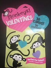 Peaceable Kingdom Monkeys Valentine's Day 30 Cards for school and 30 Stickers