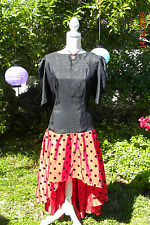 RED BLACK VINTAGE ROCKABILLY DRESS, 80S, SIZE 18, COSPLAY, PARTY, LARPING