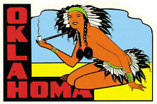 Oklahoma  Pin-Up Girl  Vintage-1950's Style   Travel Sticker/Decal/Label