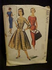 1956 McCall's Lady's Fitted Dress Pattern 3981 for Users of Milnot