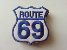 CLASSIC AMERICAN HIGHWAY ROAD SIGN SEW / IRON ON PATCH:- ROUTE 69 BLUE / WHITE