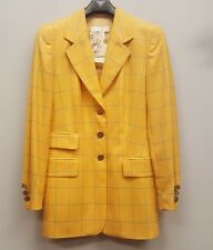 ESCADA Size 34 Yellow Plaid Square Check Long Blazer Jacket NEW NWT