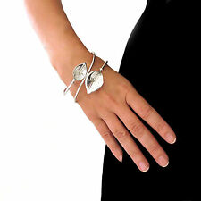Calla Lily 925 Sterling Silver Flower Large Bracelet Cuff