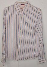 Abercrombie Muscle Mens Pink Striped 100% Cotton Long Sleeve Button Down Shirt M