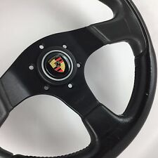 Genuine Momo black grey leather 320mm steering wheel. Porsche 911 944 964 etc