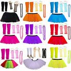 Kids Neon Colours UV Tutu Gloves Leg Warmers and Beads 1980s Fancy Dress