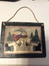 Winter Snowman Slate Christmas Country Home Snowflakes For Sale