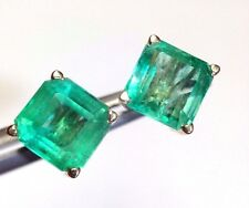 Lustrous Vivid Blue Green 4.04CT Colombian Emerald 14K Yellow Gold Earring Studs