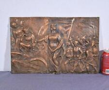 """*17"""" Antique Bronze Sculpture/Plaque/Wall Hanging with WW1 Imagery"""