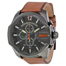 Diesel Mega Chief Black Dial Brown Leather Mens Quartz Watch DZ4343