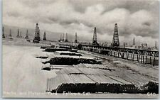 "Fellows CA Postcard ""Racks & Material Yard"" Oil Field Scene Wells Derricks 1910s"