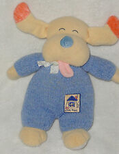 Carters Emu Namae Going Home Plush Puppy Dog Rattle Blue Chenille Baby Toy