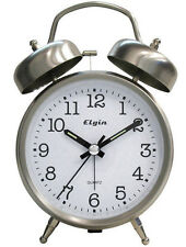 Elgin Battery Operated Retro Twin Bell Alarm Clock Snooze Light