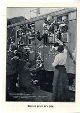 Deutsche Truppen ziehen mit der Bahn ins Feld * Verabschiedung Bilddokument 1915