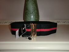 TOPSHOP NAVY BLUE AND RED SPORTY ELASTICATED BELT WITH GOLD CLASP SIZE SMALL