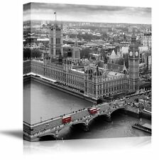 Photograph of London with Pop of Color on the Buses - Canvas Art - 24x24 inches