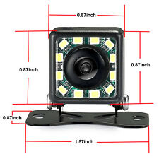 Car Backup Rear View Reverse Parking Camera Night Vision HD 420TVL 12LED Lights