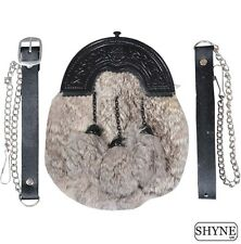 GREY RABBIT FUR FULL DRESS SPORRAN WITH BLACK CANTLE 3 GREY TASSELS