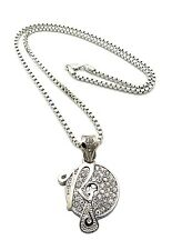 """New Iced Out ROCAFELLA Pendant &3mm/24"""" Box Chain Hip Hop Necklace MZ88BX"""