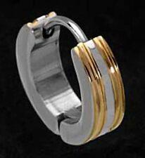 EDELSTAHL *** Herren Single-Creole bicolor (teils vergoldet) 13,5 mm