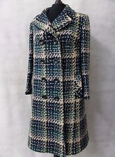 Ladies Vintage Dereta Checked Tweed Wool Overcoat Coat Size 14 CC4027