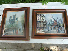 20th Century pair of impressionist oak framed oil paintings of Paris & Amsterdam